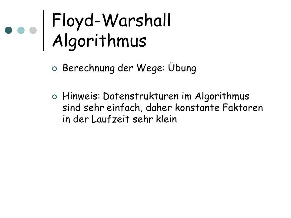 Floyd-Warshall Algorithmus Berechnung der Wege: Übung Hinweis: Datenstrukturen im Algorithmus sind sehr einfach, daher konstante Faktoren in der Laufz