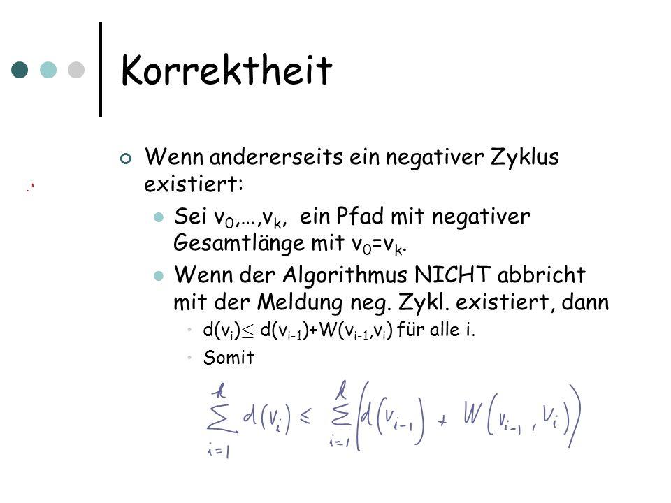Korrektheit Wenn andererseits ein negativer Zyklus existiert: Sei v 0,…,v k, ein Pfad mit negativer Gesamtlänge mit v 0 =v k. Wenn der Algorithmus NIC