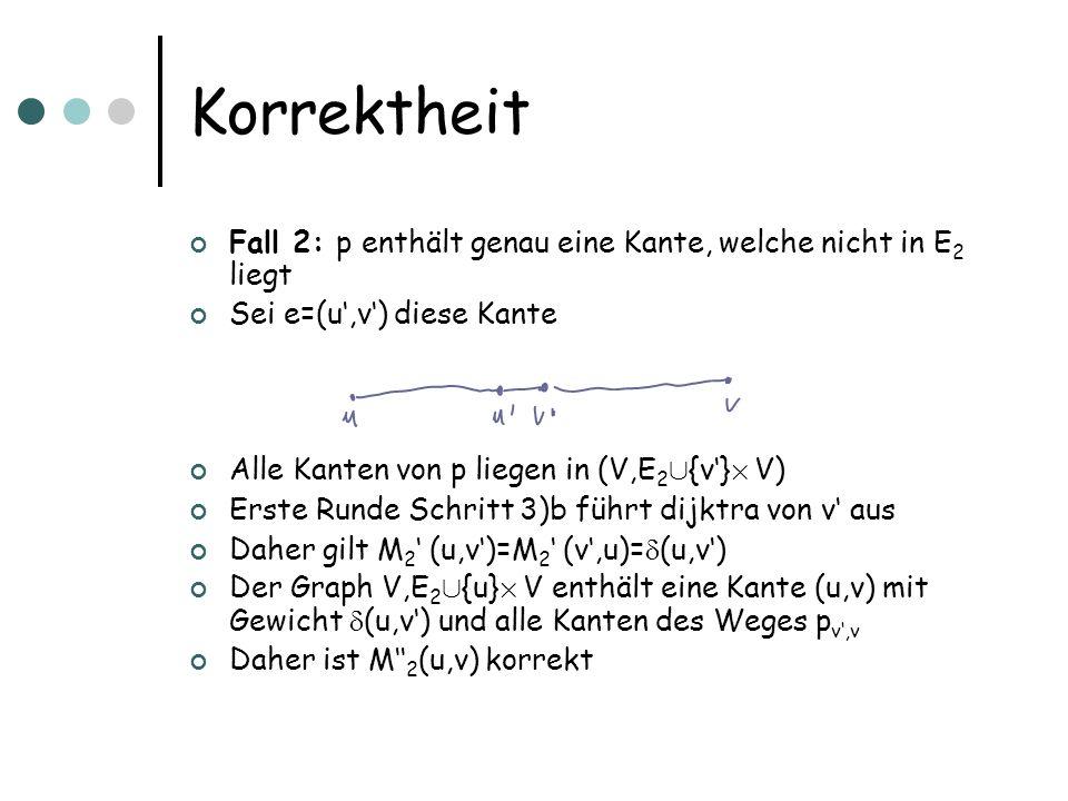 Korrektheit Fall 2: p enthält genau eine Kante, welche nicht in E 2 liegt Sei e=(u,v) diese Kante Alle Kanten von p liegen in (V,E 2 [ {v} £ V) Erste Runde Schritt 3)b führt dijktra von v aus Daher gilt M 2 (u,v)=M 2 (v,u)= (u,v) Der Graph V,E 2 [ {u} £ V enthält eine Kante (u,v) mit Gewicht (u,v) und alle Kanten des Weges p v,v Daher ist M 2 (u,v) korrekt