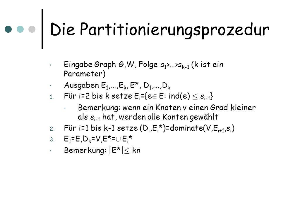 Die Partitionierungsprozedur Eingabe Graph G,W, Folge s 1 >…>s k-1 (k ist ein Parameter) Ausgaben E 1,…,E k, E*, D 1,…,D k 1. Für i=2 bis k setze E i