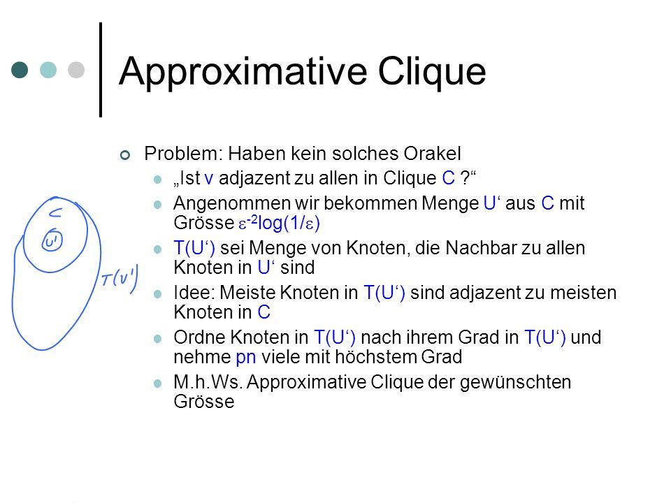 Approximative Clique Problem: Haben kein solches Orakel Ist v adjazent zu allen in Clique C .