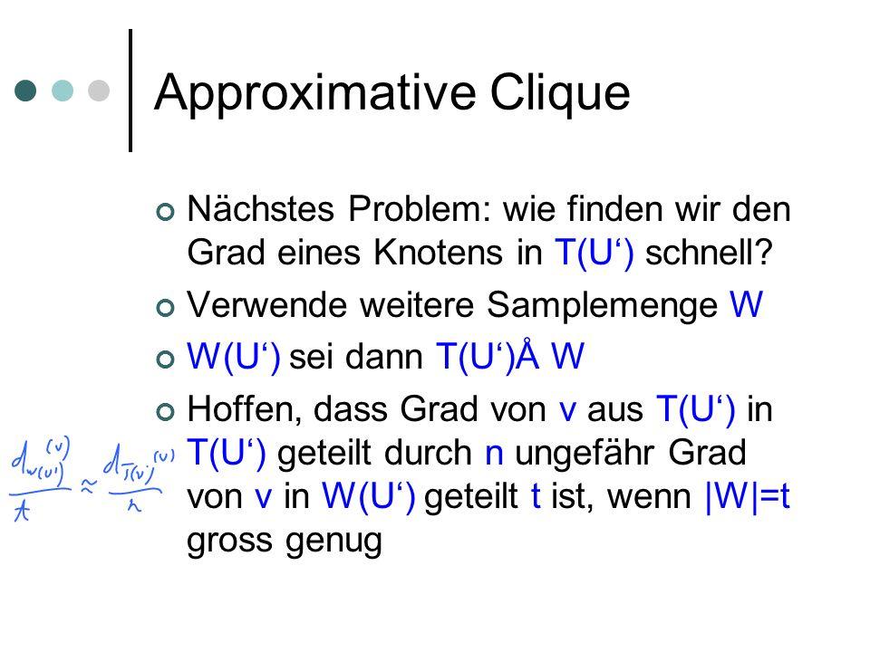 Approximative Clique Nächstes Problem: wie finden wir den Grad eines Knotens in T(U) schnell.