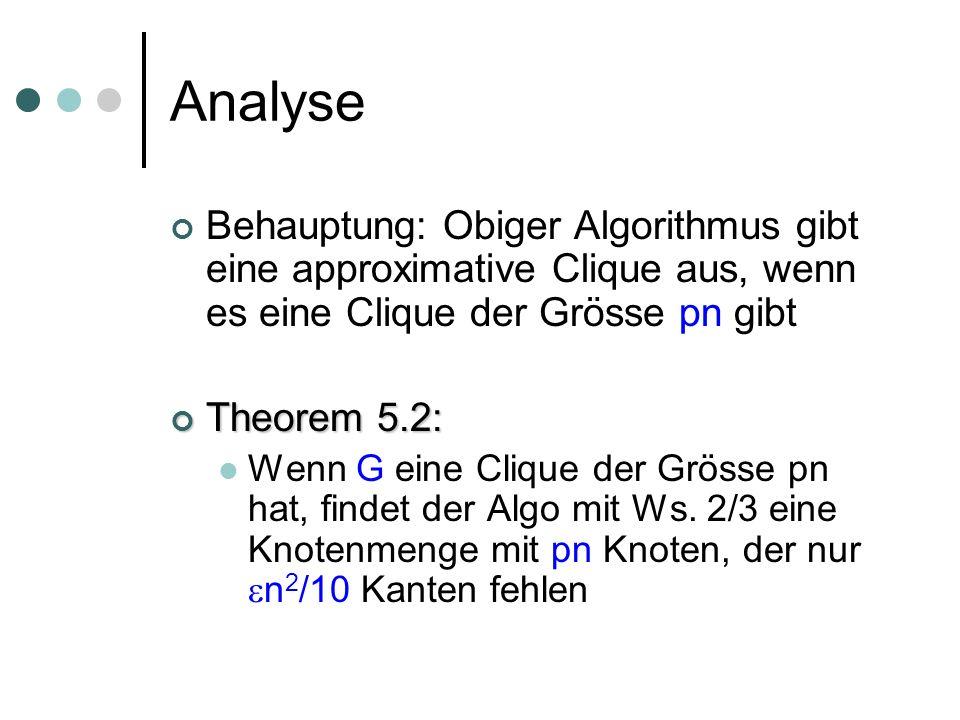 Analyse Behauptung: Obiger Algorithmus gibt eine approximative Clique aus, wenn es eine Clique der Grösse pn gibt Theorem 5.2: Theorem 5.2: Wenn G eine Clique der Grösse pn hat, findet der Algo mit Ws.