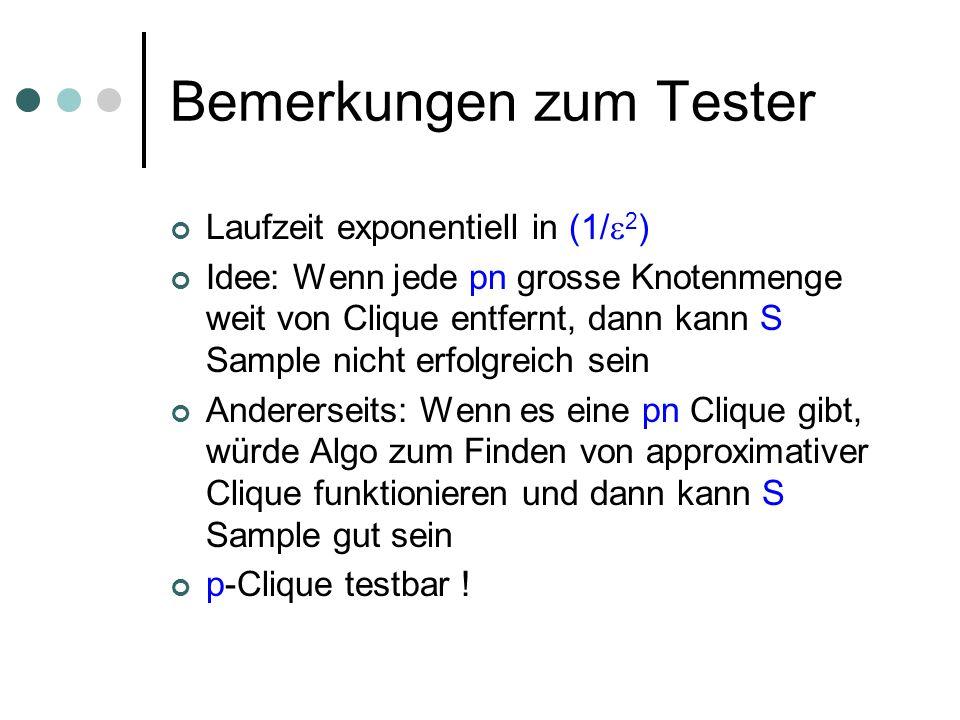 Bemerkungen zum Tester Laufzeit exponentiell in (1/ 2 ) Idee: Wenn jede pn grosse Knotenmenge weit von Clique entfernt, dann kann S Sample nicht erfolgreich sein Andererseits: Wenn es eine pn Clique gibt, würde Algo zum Finden von approximativer Clique funktionieren und dann kann S Sample gut sein p-Clique testbar !