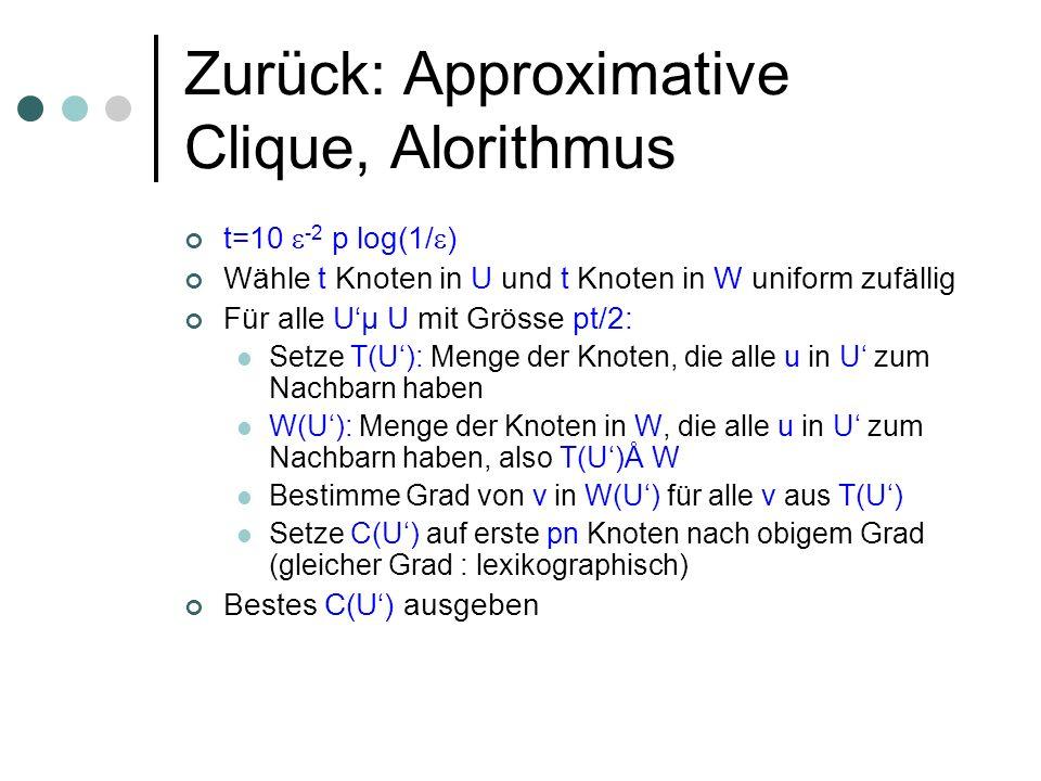 Zurück: Approximative Clique, Alorithmus t=10 -2 p log(1/ ) Wähle t Knoten in U und t Knoten in W uniform zufällig Für alle Uµ U mit Grösse pt/2: Setze T(U): Menge der Knoten, die alle u in U zum Nachbarn haben W(U): Menge der Knoten in W, die alle u in U zum Nachbarn haben, also T(U)Å W Bestimme Grad von v in W(U) für alle v aus T(U) Setze C(U) auf erste pn Knoten nach obigem Grad (gleicher Grad : lexikographisch) Bestes C(U) ausgeben