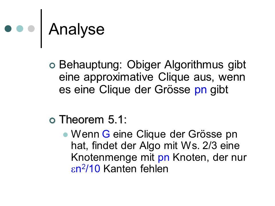 Analyse Behauptung: Obiger Algorithmus gibt eine approximative Clique aus, wenn es eine Clique der Grösse pn gibt Theorem 5.1: Theorem 5.1: Wenn G eine Clique der Grösse pn hat, findet der Algo mit Ws.