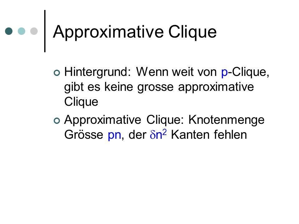 Approximative Clique Hintergrund: Wenn weit von p-Clique, gibt es keine grosse approximative Clique Approximative Clique: Knotenmenge Grösse pn, der n 2 Kanten fehlen