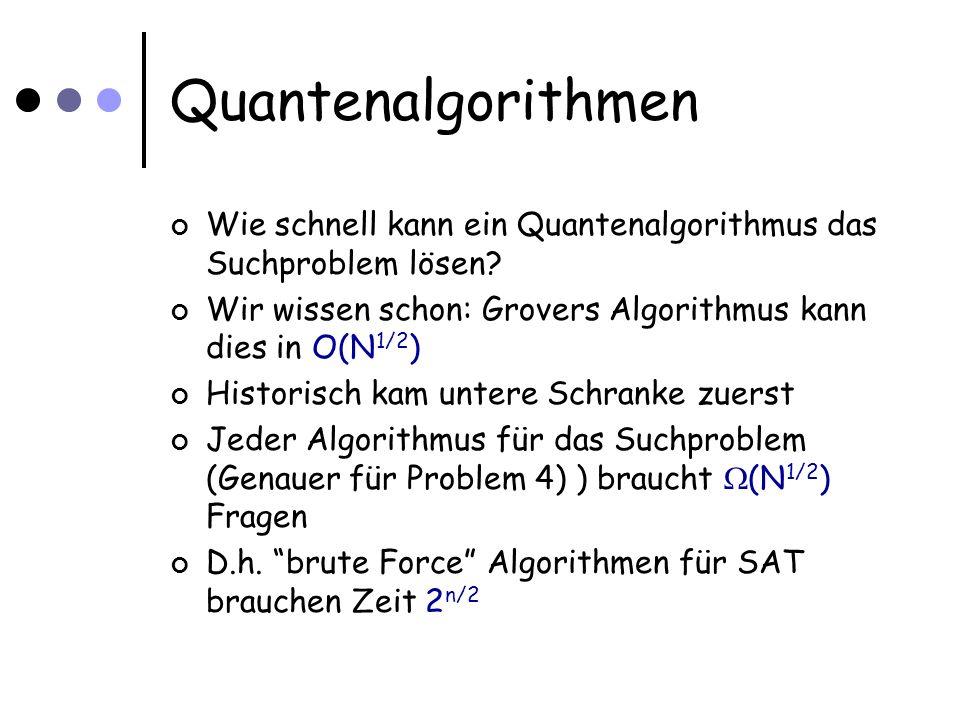 Quantenalgorithmen Wie schnell kann ein Quantenalgorithmus das Suchproblem lösen? Wir wissen schon: Grovers Algorithmus kann dies in O(N 1/2 ) Histori