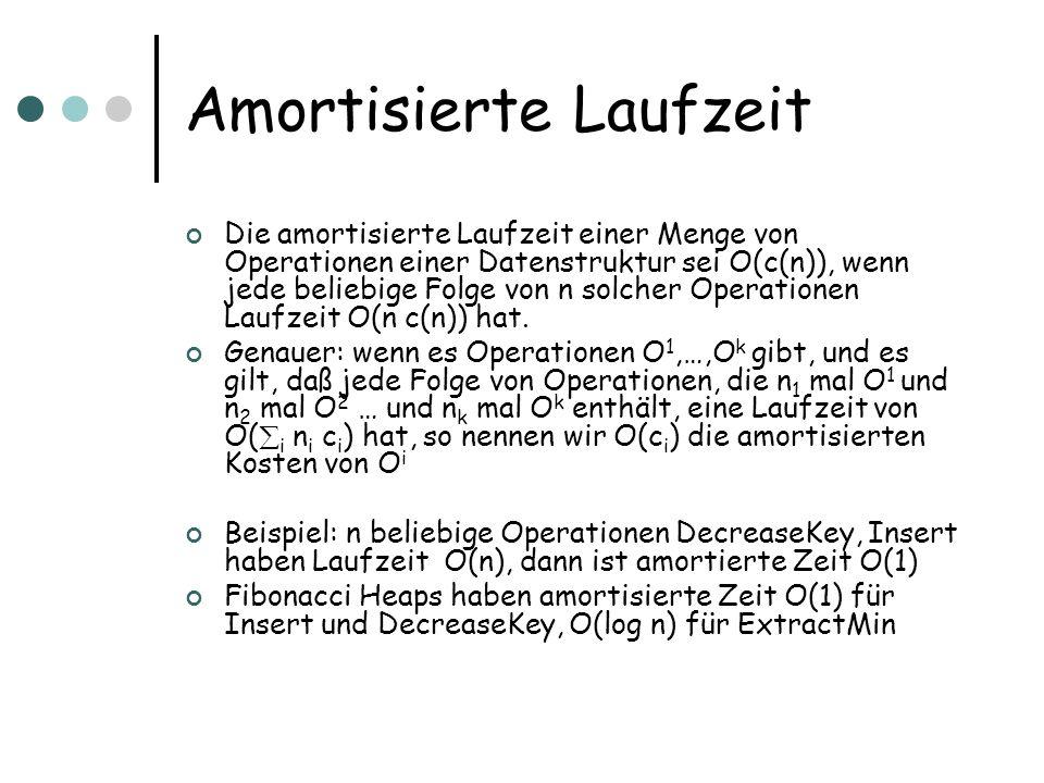 Amortisierte Laufzeit Die amortisierte Laufzeit einer Menge von Operationen einer Datenstruktur sei O(c(n)), wenn jede beliebige Folge von n solcher Operationen Laufzeit O(n c(n)) hat.