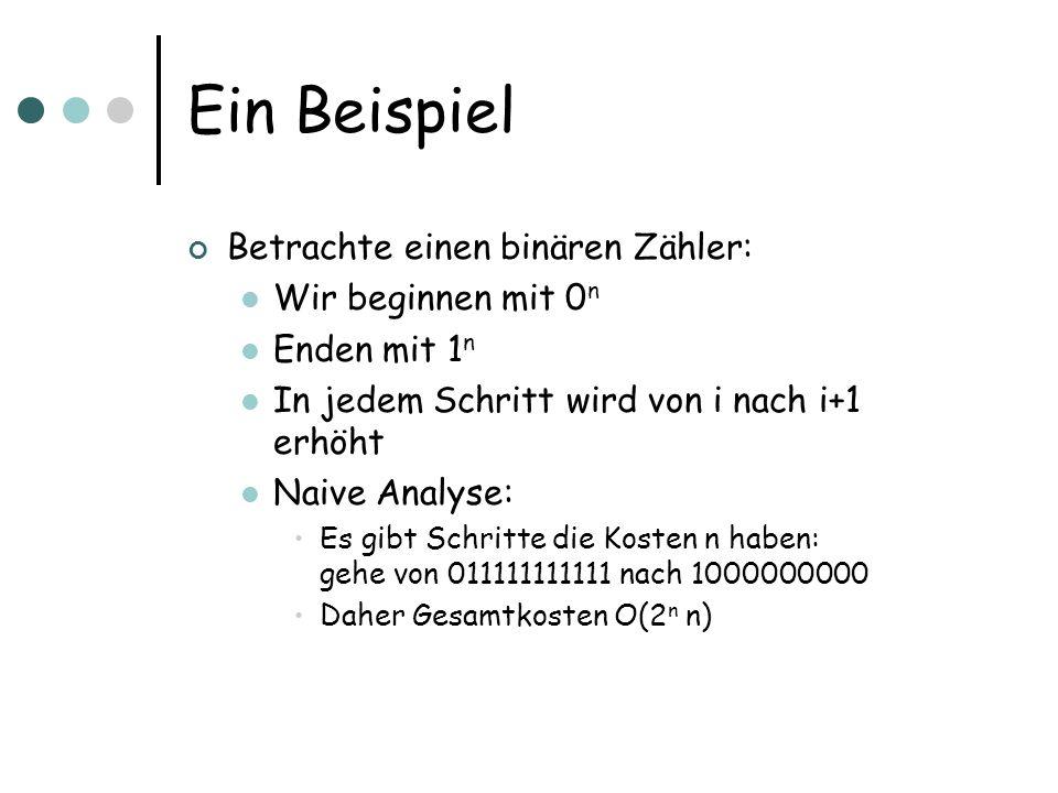 Ein Beispiel Betrachte einen binären Zähler: Wir beginnen mit 0 n Enden mit 1 n In jedem Schritt wird von i nach i+1 erhöht Naive Analyse: Es gibt Schritte die Kosten n haben: gehe von 011111111111 nach 1000000000 Daher Gesamtkosten O(2 n n)
