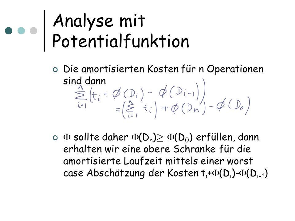 Analyse mit Potentialfunktion Die amortisierten Kosten für n Operationen sind dann sollte daher (D n ) ¸ (D 0 ) erfüllen, dann erhalten wir eine obere Schranke für die amortisierte Laufzeit mittels einer worst case Abschätzung der Kosten t i + (D i )- (D i-1 )