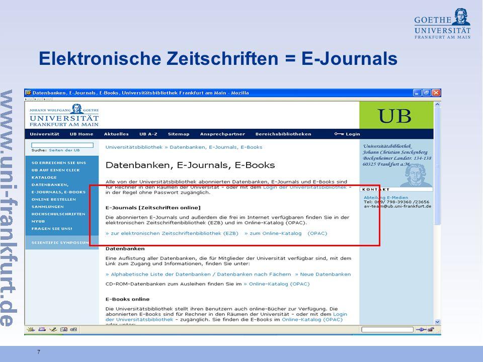 7 Elektronische Zeitschriften = E-Journals