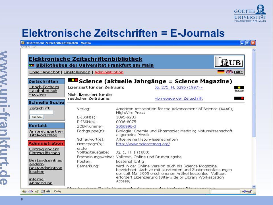 10 Elektronische Zeitschriften = E-Journals