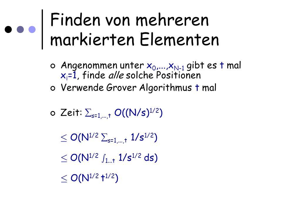Finden von mehreren markierten Elementen Angenommen unter x 0,...,x N-1 gibt es t mal x i =1, finde alle solche Positionen Verwende Grover Algorithmus t mal Zeit: s=1,...,t O((N/s) 1/2 ) · O(N 1/2 s=1,...,t 1/s 1/2 ) · O(N 1/2 s 1...t 1/s 1/2 ds) · O(N 1/2 t 1/2 )