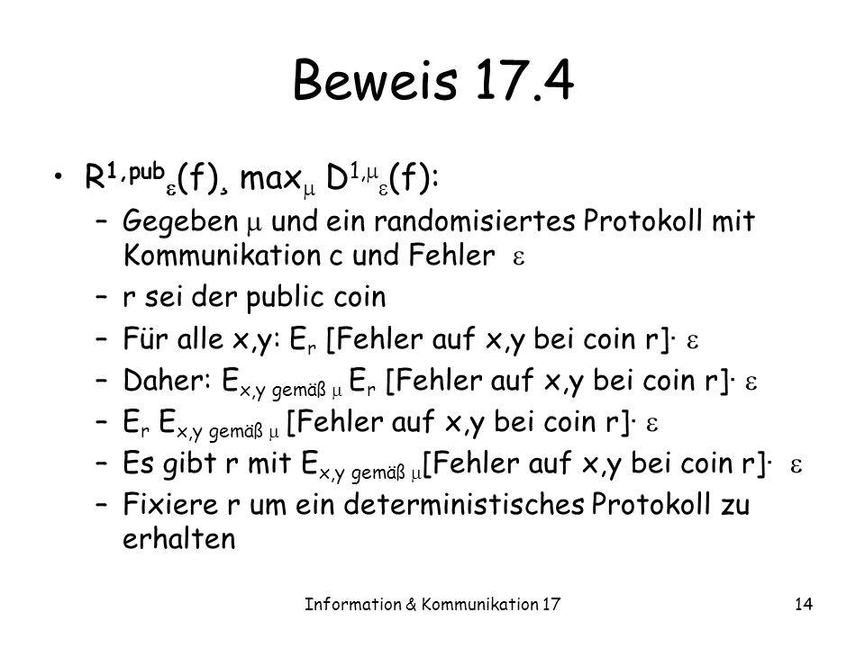 Information & Kommunikation 1714 Beweis 17.4 R 1,pub (f) ¸ max D 1, (f): –Gegeben und ein randomisiertes Protokoll mit Kommunikation c und Fehler –r sei der public coin –Für alle x,y: E r [Fehler auf x,y bei coin r] · –Daher: E x,y gemäß E r [Fehler auf x,y bei coin r] · –E r E x,y gemäß [Fehler auf x,y bei coin r] · –Es gibt r mit E x,y gemäß [Fehler auf x,y bei coin r] · –Fixiere r um ein deterministisches Protokoll zu erhalten