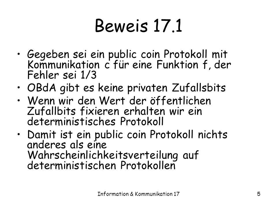 Information & Kommunikation 175 Beweis 17.1 Gegeben sei ein public coin Protokoll mit Kommunikation c für eine Funktion f, der Fehler sei 1/3 OBdA gibt es keine privaten Zufallsbits Wenn wir den Wert der öffentlichen Zufallbits fixieren erhalten wir ein deterministisches Protokoll Damit ist ein public coin Protokoll nichts anderes als eine Wahrscheinlichkeitsverteilung auf deterministischen Protokollen