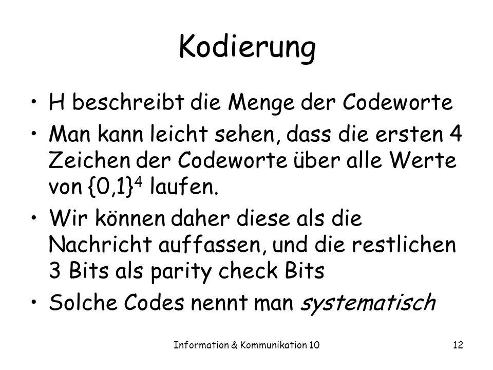 Information & Kommunikation 1012 Kodierung H beschreibt die Menge der Codeworte Man kann leicht sehen, dass die ersten 4 Zeichen der Codeworte über alle Werte von {0,1} 4 laufen.