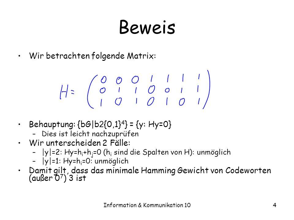 Information & Kommunikation 104 Beweis Wir betrachten folgende Matrix: Behauptung: {bG|b 2 {0,1} 4 } = {y: Hy=0} –Dies ist leicht nachzuprüfen Wir unterscheiden 2 Fälle: –|y|=2: Hy=h i +h j =0 (h i sind die Spalten von H): unmöglich –|y|=1: Hy=h i =0: unmöglich Damit gilt, dass das minimale Hamming Gewicht von Codeworten (außer 0 7 ) 3 ist