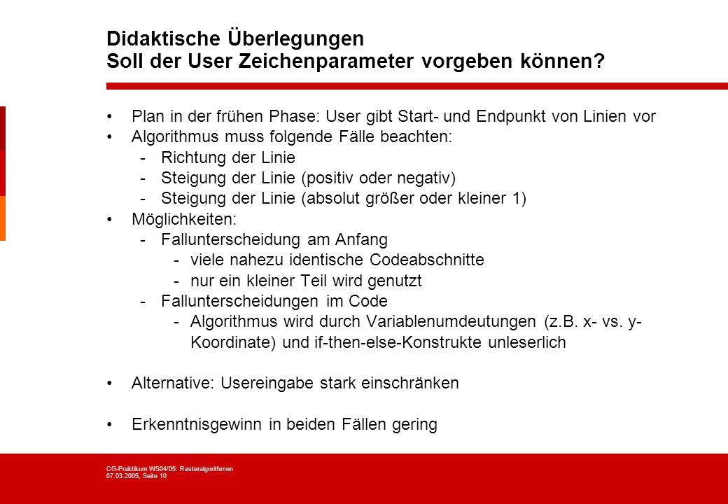 CG-Praktikum WS04/05: Rasteralgorithmen 07.03.2005, Seite 10 Didaktische Überlegungen Soll der User Zeichenparameter vorgeben können? Plan in der früh