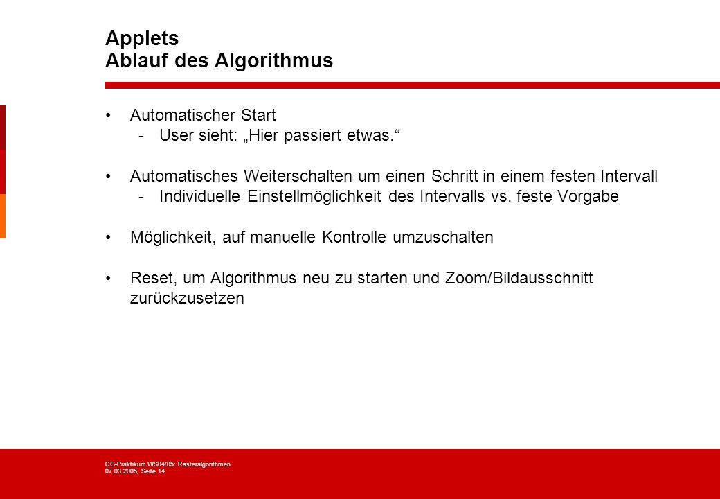 CG-Praktikum WS04/05: Rasteralgorithmen 07.03.2005, Seite 14 Applets Ablauf des Algorithmus Automatischer Start -User sieht: Hier passiert etwas. Auto