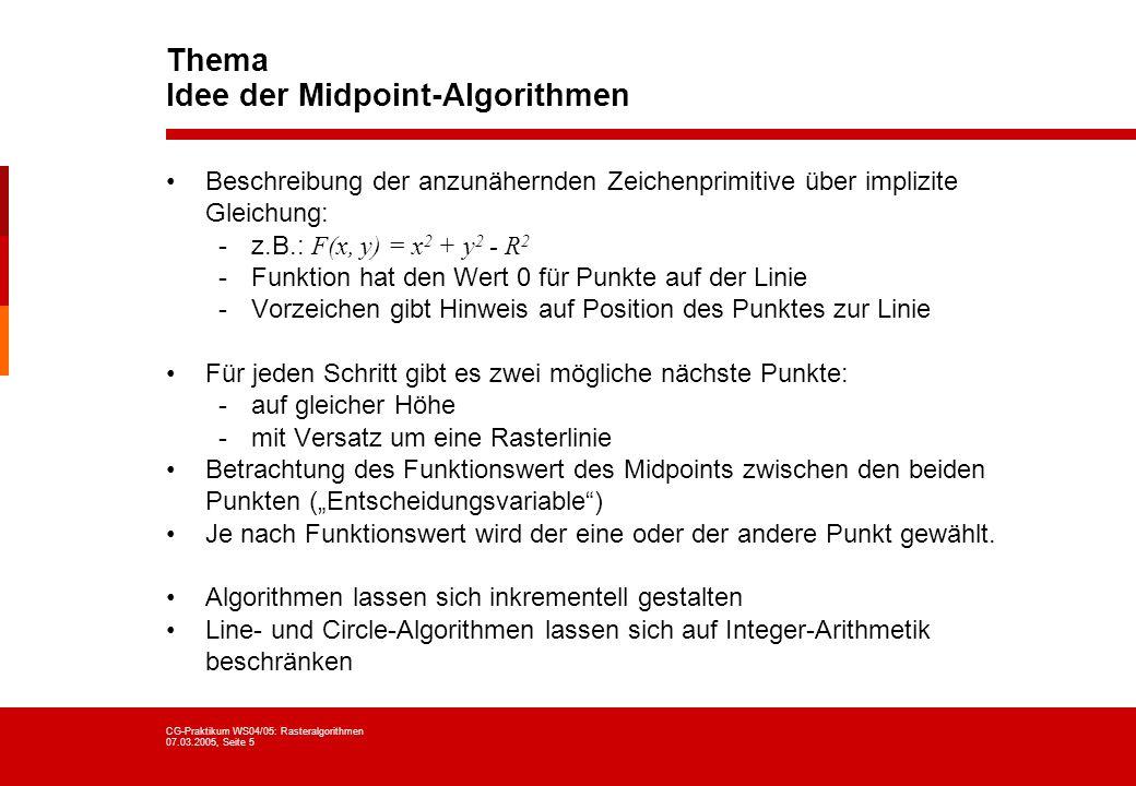 CG-Praktikum WS04/05: Rasteralgorithmen 07.03.2005, Seite 5 Thema Idee der Midpoint-Algorithmen Beschreibung der anzunähernden Zeichenprimitive über i