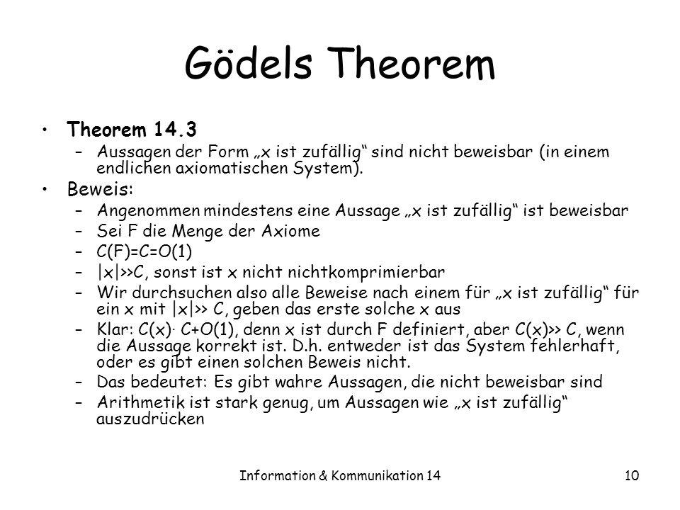 Information & Kommunikation 1410 Gödels Theorem Theorem 14.3 –Aussagen der Form x ist zufällig sind nicht beweisbar (in einem endlichen axiomatischen