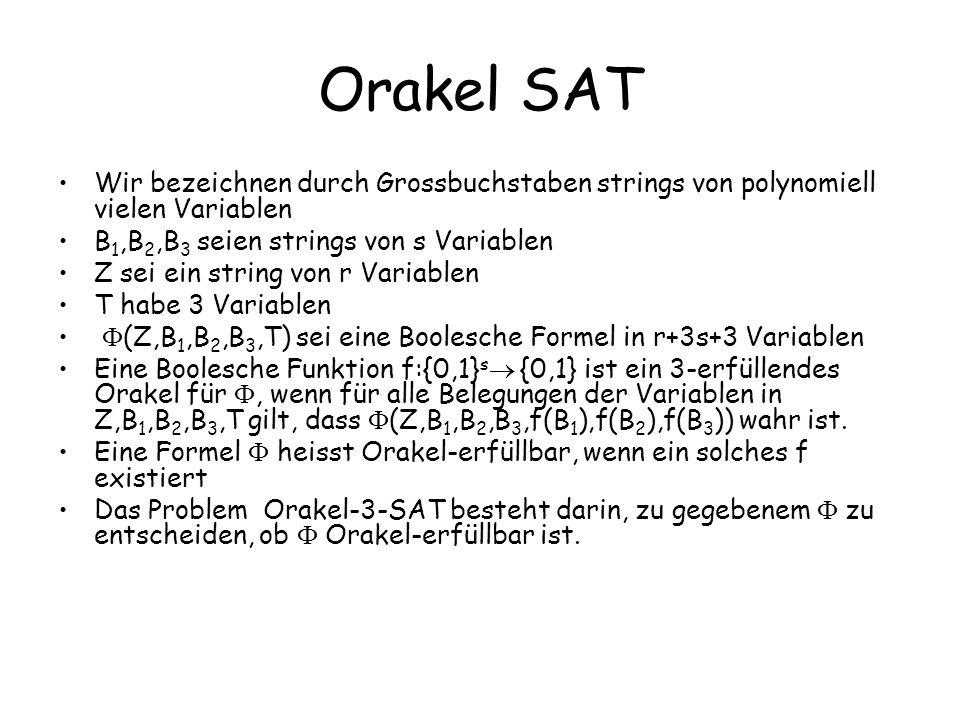 Orakel SAT Wir bezeichnen durch Grossbuchstaben strings von polynomiell vielen Variablen B 1,B 2,B 3 seien strings von s Variablen Z sei ein string von r Variablen T habe 3 Variablen (Z,B 1,B 2,B 3,T) sei eine Boolesche Formel in r+3s+3 Variablen Eine Boolesche Funktion f:{0,1} s {0,1} ist ein 3-erfüllendes Orakel für, wenn für alle Belegungen der Variablen in Z,B 1,B 2,B 3,T gilt, dass (Z,B 1,B 2,B 3,f(B 1 ),f(B 2 ),f(B 3 )) wahr ist.