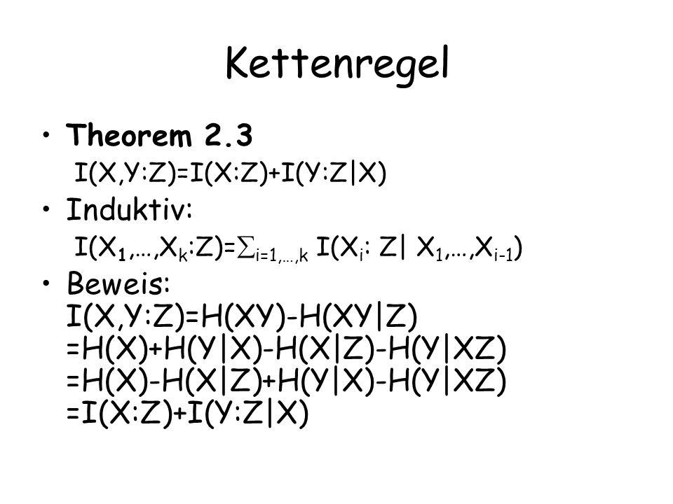Kettenregel Theorem 2.3 I(X,Y:Z)=I(X:Z)+I(Y:Z|X) Induktiv: I(X 1,…,X k :Z)= i=1,…,k I(X i : Z| X 1,…,X i-1 ) Beweis: I(X,Y:Z)=H(XY)-H(XY|Z) =H(X)+H(Y|X)-H(X|Z)-H(Y|XZ) =H(X)-H(X|Z)+H(Y|X)-H(Y|XZ) =I(X:Z)+I(Y:Z|X)