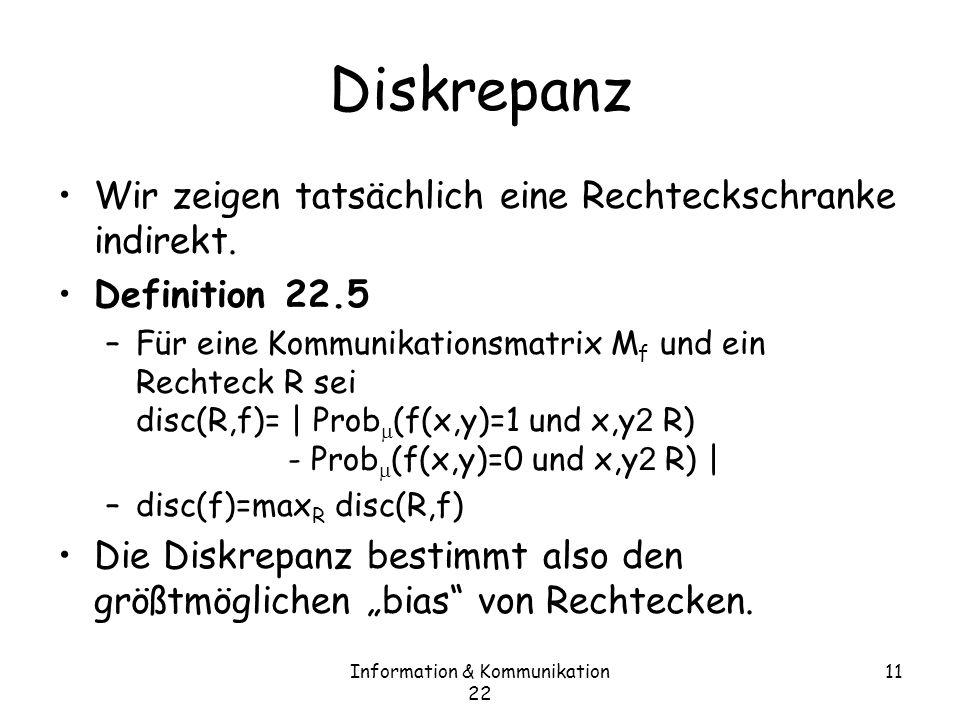 Information & Kommunikation 22 11 Diskrepanz Wir zeigen tatsächlich eine Rechteckschranke indirekt.