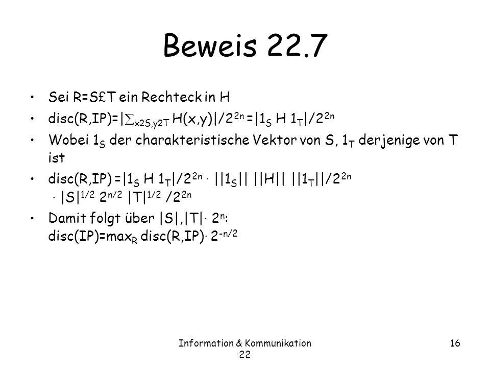 Information & Kommunikation 22 16 Beweis 22.7 Sei R=S £ T ein Rechteck in H disc(R,IP)=| x 2 S,y 2 T H(x,y)|/2 2n =|1 S H 1 T |/2 2n Wobei 1 S der charakteristische Vektor von S, 1 T derjenige von T ist disc(R,IP) =|1 S H 1 T |/2 2n · ||1 S || ||H|| ||1 T ||/2 2n · |S| 1/2 2 n/2 |T| 1/2 /2 2n Damit folgt über |S|,|T| · 2 n : disc(IP)=max R disc(R,IP) · 2 -n/2
