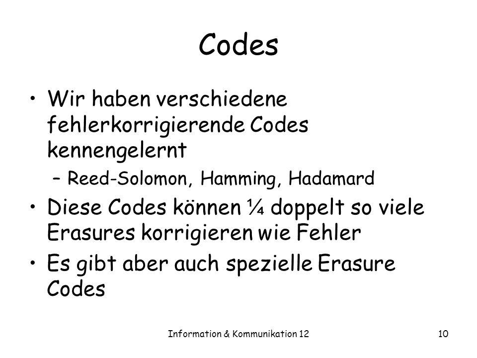Information & Kommunikation 1210 Codes Wir haben verschiedene fehlerkorrigierende Codes kennengelernt –Reed-Solomon, Hamming, Hadamard Diese Codes können ¼ doppelt so viele Erasures korrigieren wie Fehler Es gibt aber auch spezielle Erasure Codes