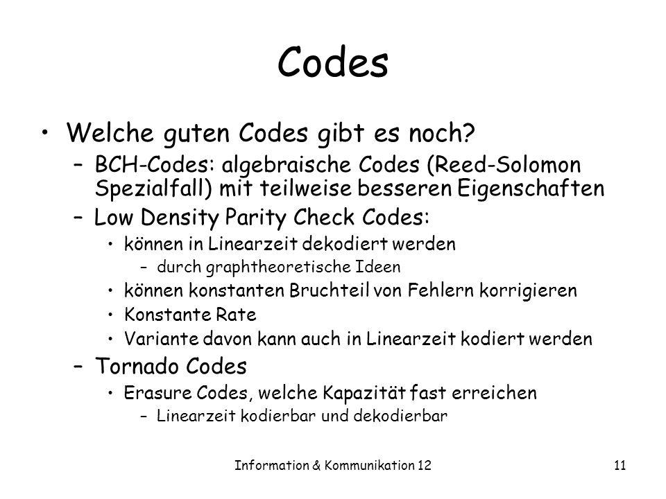 Information & Kommunikation 1211 Codes Welche guten Codes gibt es noch? –BCH-Codes: algebraische Codes (Reed-Solomon Spezialfall) mit teilweise besser