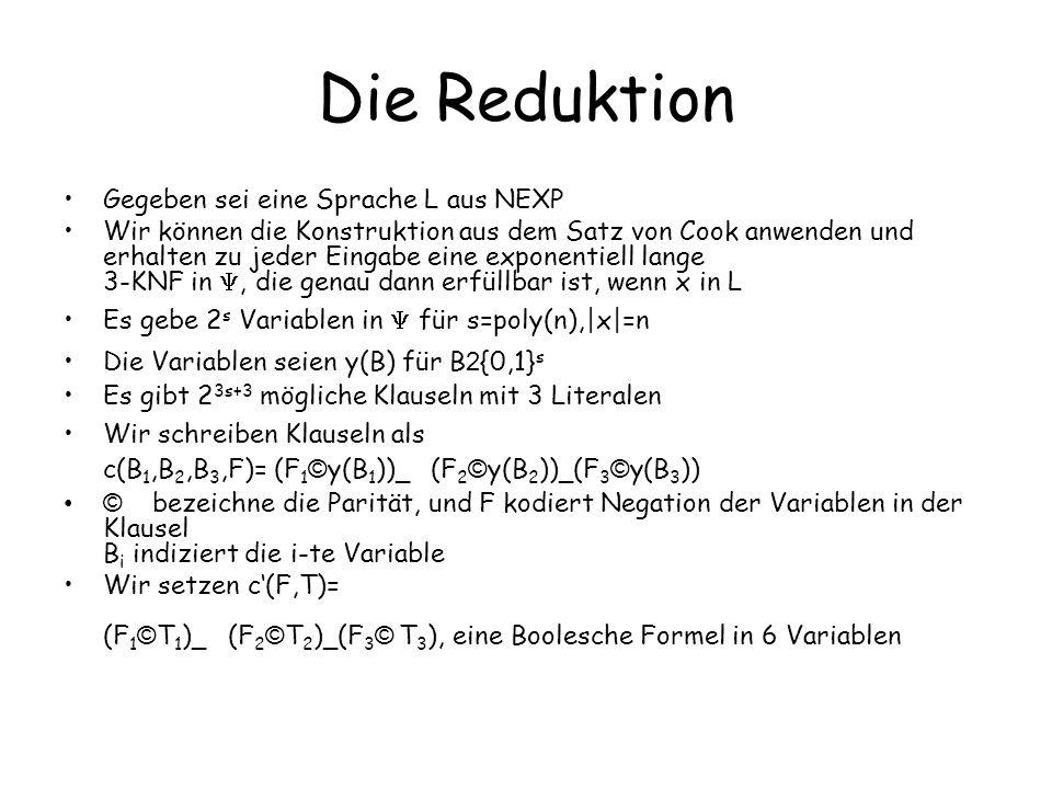 Die Reduktion Zu gegebenen Belegungen von B 1,B 2,B 3,F kann in polynomieller Zeit bestimmt werden, ob c(B 1,B 2,B 3,F) eine Klausel in der Formel ist q(x, B 1,B 2,B 3,F) sei ein Prädikat, das dies anzeigt D.h.