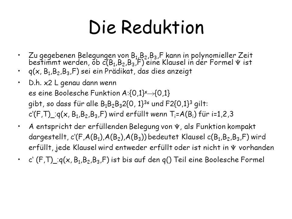 Die Reduktion Zu gegebenen Belegungen von B 1,B 2,B 3,F kann in polynomieller Zeit bestimmt werden, ob c(B 1,B 2,B 3,F) eine Klausel in der Formel ist