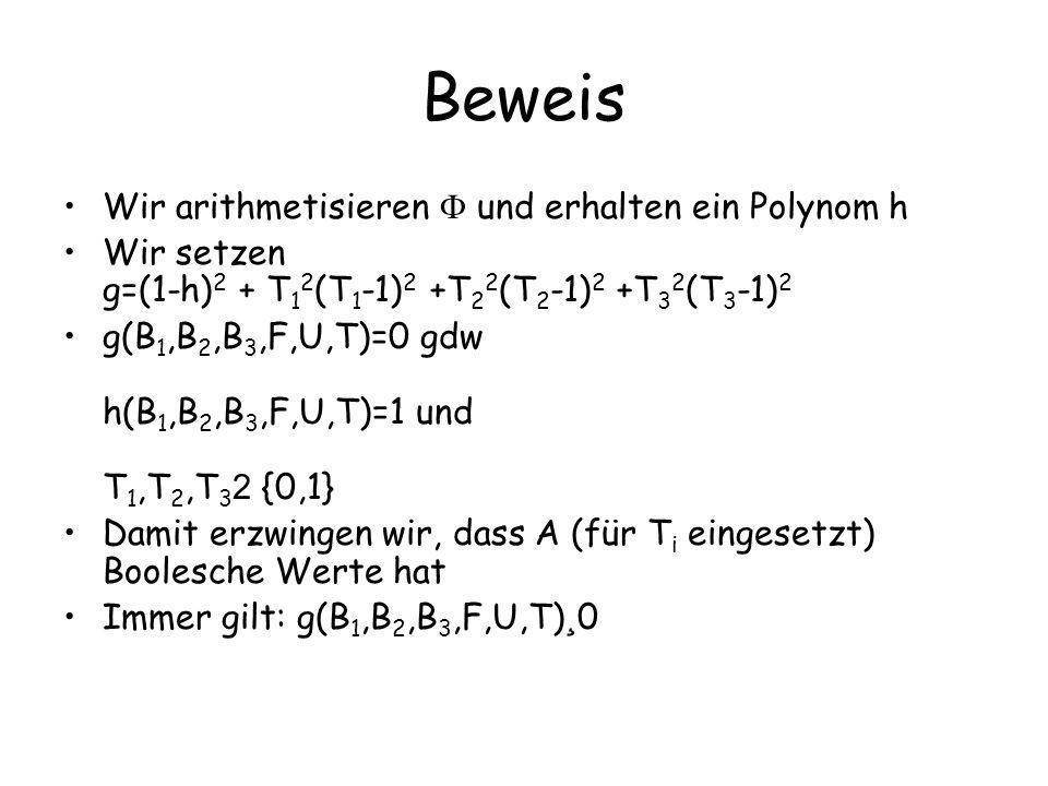 Beweis B1,B2,B3,F,U 2 {0,1} 3s+r g(B 1,B 2,B 3,F,U,A(B 1 ),A(B 2 ),A(B 3 ))=0 bedeutet: für alle Booleschen Belegungen der Variablen in B 1,B 2,B 3,F,U gilt, dass g(B 1,B 2,B 3,F,U,A(B 1 ),A(B 2 ),A(B 3 ))=0 Das bedeutet h(B 1,B 2,B 3,F,U,A(B 1 ),A(B 2 ),A(B 3 ))=1 und A(B i ) Boolesch Also: wird vom (Booleschen) A Orakel-erfüllt.