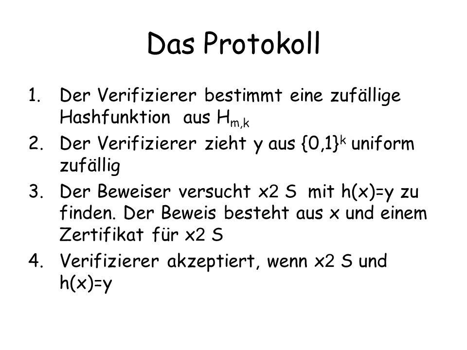 Das Protokoll 1.Der Verifizierer bestimmt eine zufällige Hashfunktion aus H m,k 2.Der Verifizierer zieht y aus {0,1} k uniform zufällig 3.Der Beweiser
