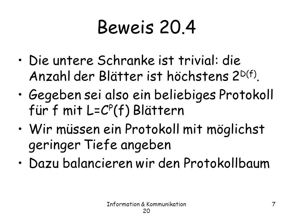 Information & Kommunikation 20 7 Beweis 20.4 Die untere Schranke ist trivial: die Anzahl der Blätter ist höchstens 2 D(f).