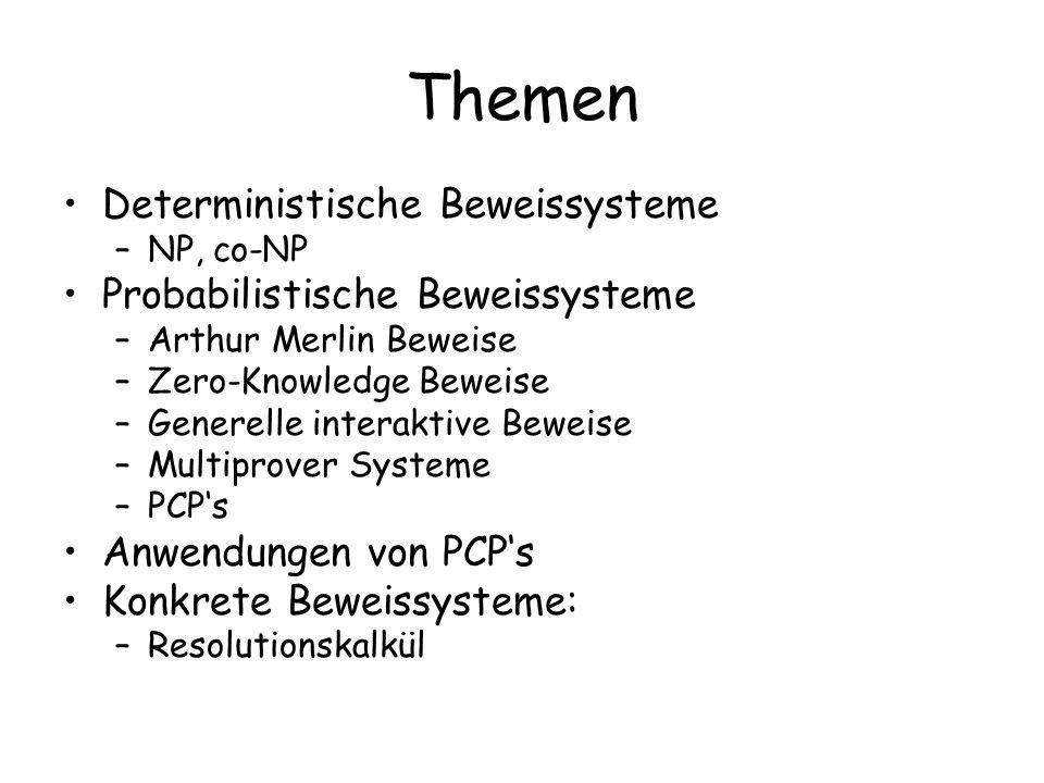 Themen Deterministische Beweissysteme –NP, co-NP Probabilistische Beweissysteme –Arthur Merlin Beweise –Zero-Knowledge Beweise –Generelle interaktive