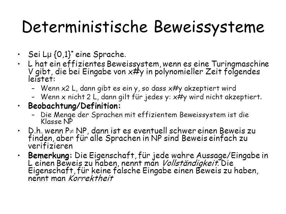 Deterministische Beweissysteme Sei L µ {0,1} * eine Sprache. L hat ein effizientes Beweissystem, wenn es eine Turingmaschine V gibt, die bei Eingabe v