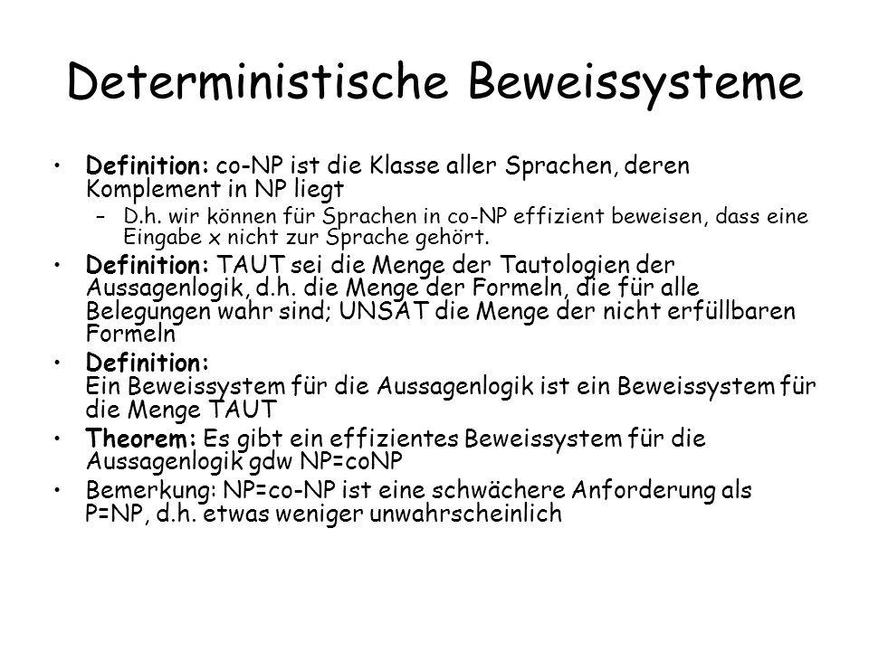 Deterministische Beweissysteme Definition: co-NP ist die Klasse aller Sprachen, deren Komplement in NP liegt –D.h. wir können für Sprachen in co-NP ef