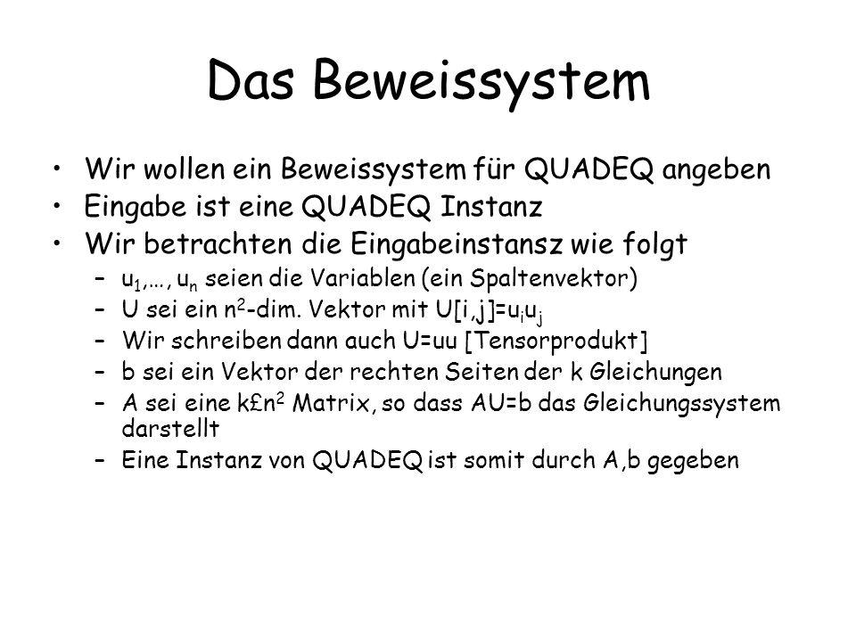 Das Beweissystem Wir wollen ein Beweissystem für QUADEQ angeben Eingabe ist eine QUADEQ Instanz Wir betrachten die Eingabeinstansz wie folgt –u 1,…, u