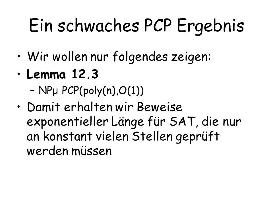 Ein schwaches PCP Ergebnis Wir wollen nur folgendes zeigen: Lemma 12.3 –NP µ PCP(poly(n),O(1)) Damit erhalten wir Beweise exponentieller Länge für SAT
