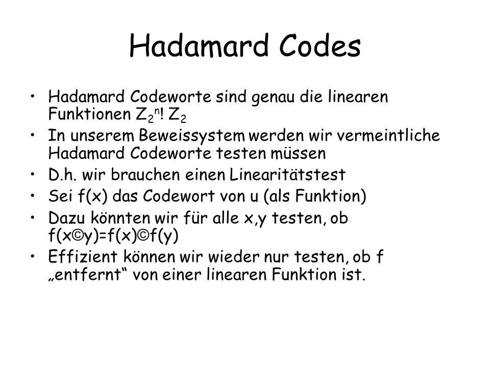 Hadamard Codes Hadamard Codeworte sind genau die linearen Funktionen Z 2 n ! Z 2 In unserem Beweissystem werden wir vermeintliche Hadamard Codeworte t