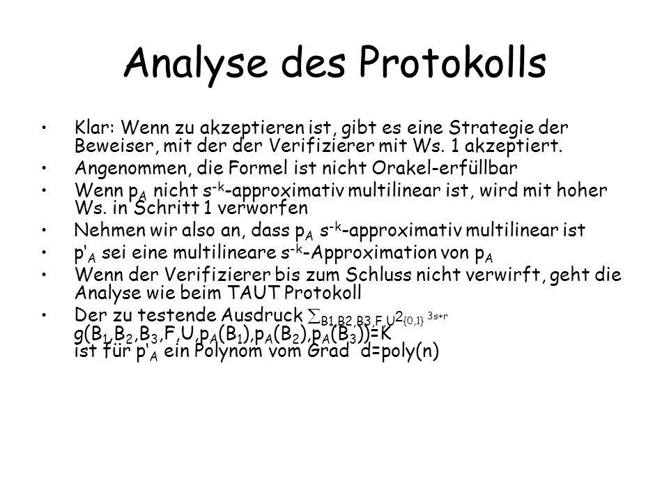 Analyse des Protokolls Wenn der Ausdruck nicht gleich K ist, und der Beweiser sendet in einer Runde das richtige Polynom, wird mit Sicherheit verworfen, da dann s(0)+s(1) K Wenn der Beweiser ein anderes Polynom sendet, wird mit Ws.