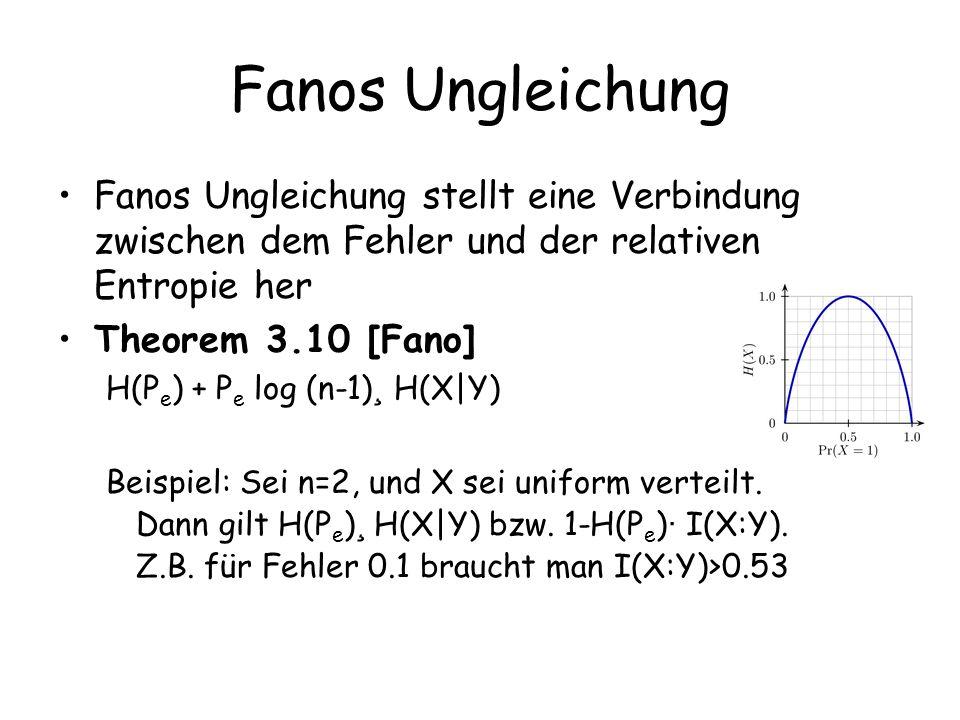 Fanos Ungleichung Fanos Ungleichung stellt eine Verbindung zwischen dem Fehler und der relativen Entropie her Theorem 3.10 [Fano] H(P e ) + P e log (n-1) ¸ H(X|Y) Beispiel: Sei n=2, und X sei uniform verteilt.