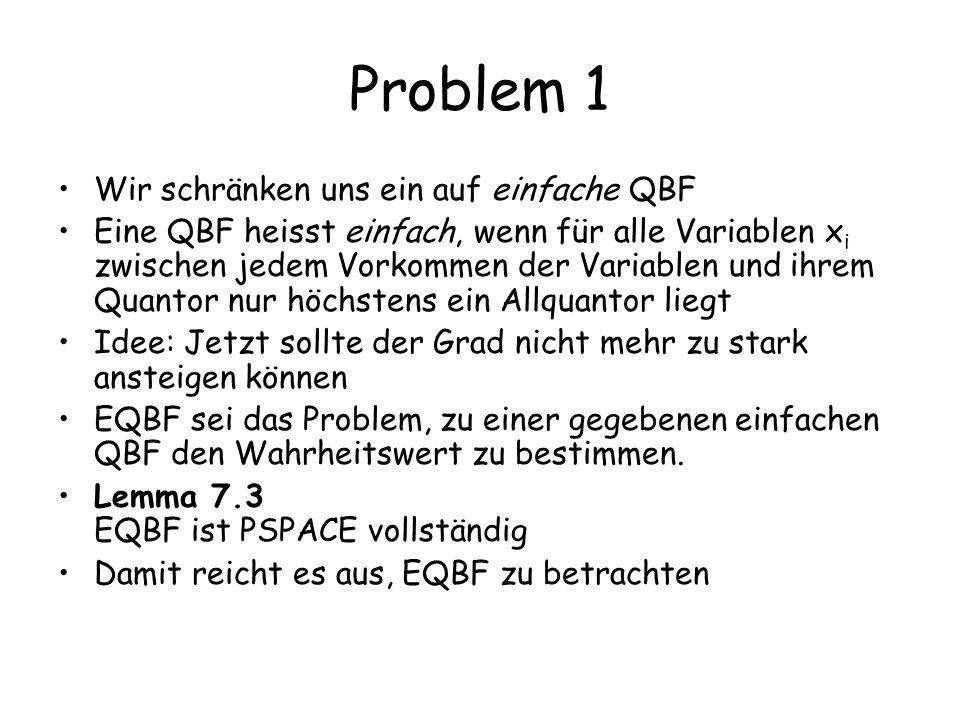 Problem 1 Wir schränken uns ein auf einfache QBF Eine QBF heisst einfach, wenn für alle Variablen x i zwischen jedem Vorkommen der Variablen und ihrem Quantor nur höchstens ein Allquantor liegt Idee: Jetzt sollte der Grad nicht mehr zu stark ansteigen können EQBF sei das Problem, zu einer gegebenen einfachen QBF den Wahrheitswert zu bestimmen.