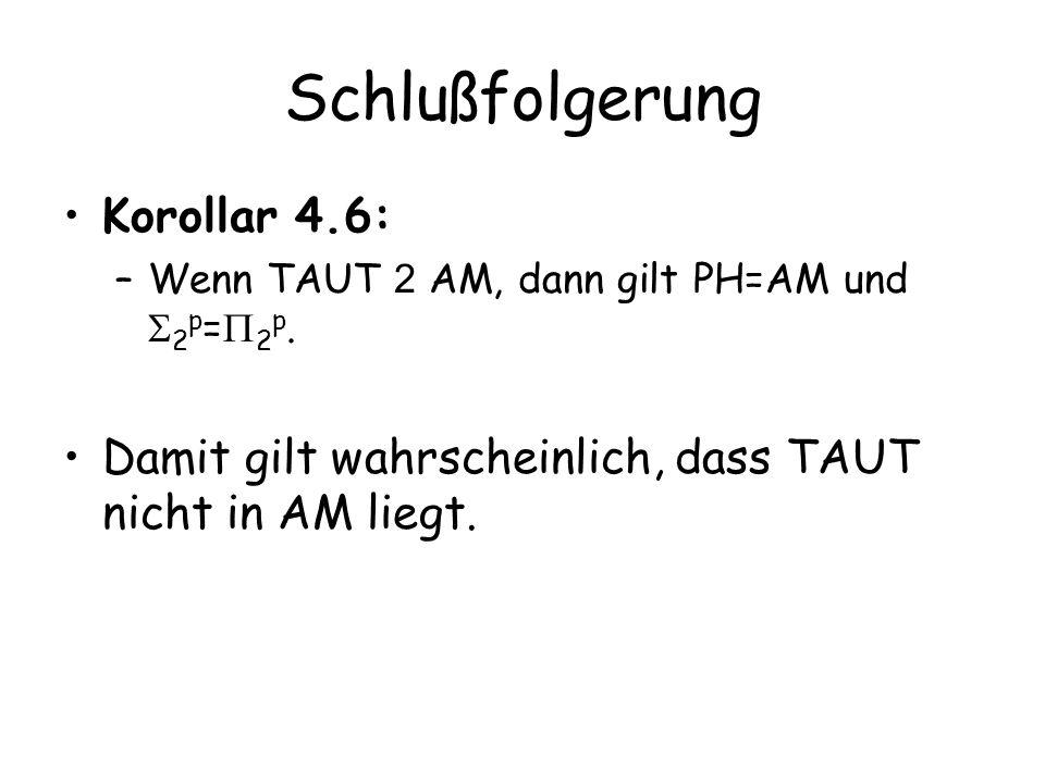 Schlußfolgerung Korollar 4.6: –Wenn TAUT 2 AM, dann gilt PH=AM und 2 p = 2 p.