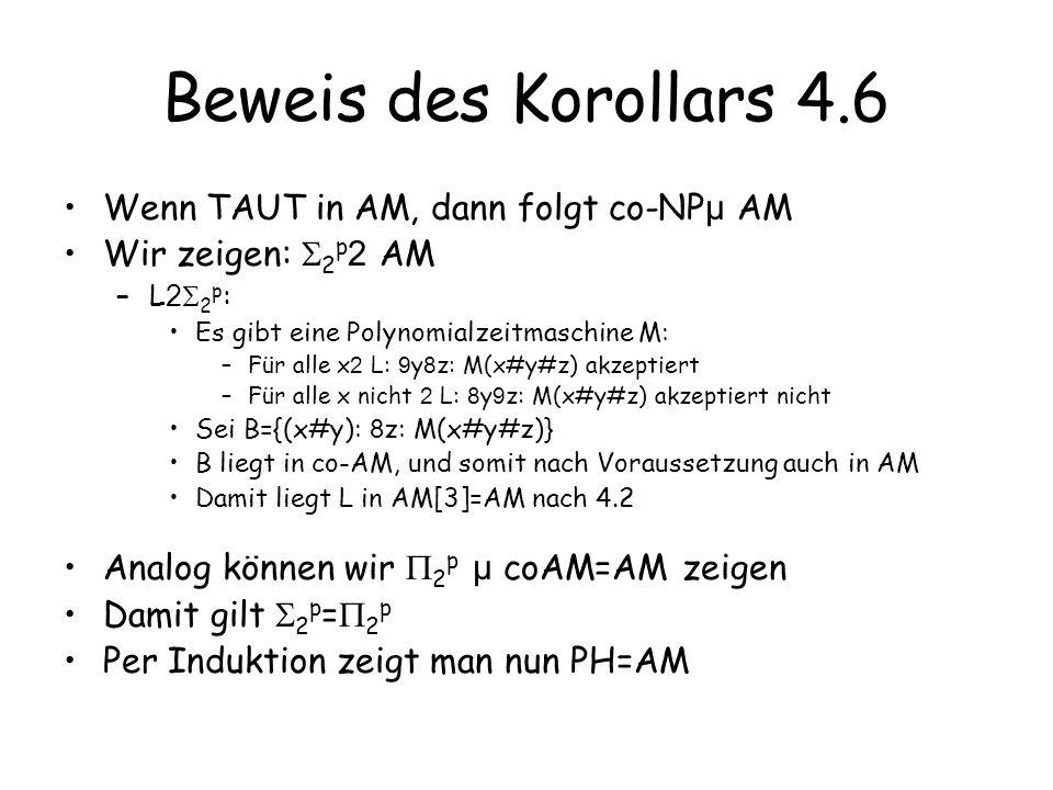 Beweis des Korollars 4.6 Wenn TAUT in AM, dann folgt co-NP µ AM Wir zeigen: 2 p 2 AM –L 2 2 p : Es gibt eine Polynomialzeitmaschine M: –Für alle x 2 L: 9 y 8 z: M(x#y#z) akzeptiert –Für alle x nicht 2 L: 8 y 9 z: M(x#y#z) akzeptiert nicht Sei B={(x#y): 8 z: M(x#y#z)} B liegt in co-AM, und somit nach Voraussetzung auch in AM Damit liegt L in AM[3]=AM nach 4.2 Analog können wir 2 p µ coAM=AM zeigen Damit gilt 2 p = 2 p Per Induktion zeigt man nun PH=AM
