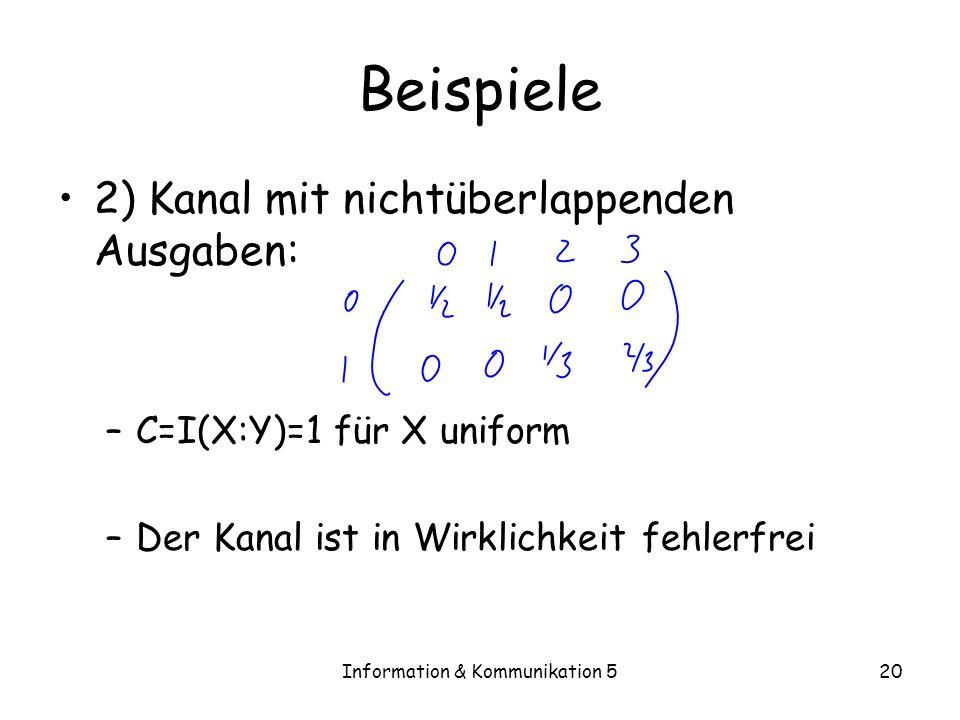Information & Kommunikation 520 Beispiele 2) Kanal mit nichtüberlappenden Ausgaben: –C=I(X:Y)=1 für X uniform –Der Kanal ist in Wirklichkeit fehlerfre
