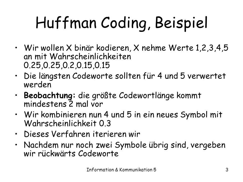 Information & Kommunikation 53 Huffman Coding, Beispiel Wir wollen X binär kodieren, X nehme Werte 1,2,3,4,5 an mit Wahrscheinlichkeiten 0.25,0.25,0.2